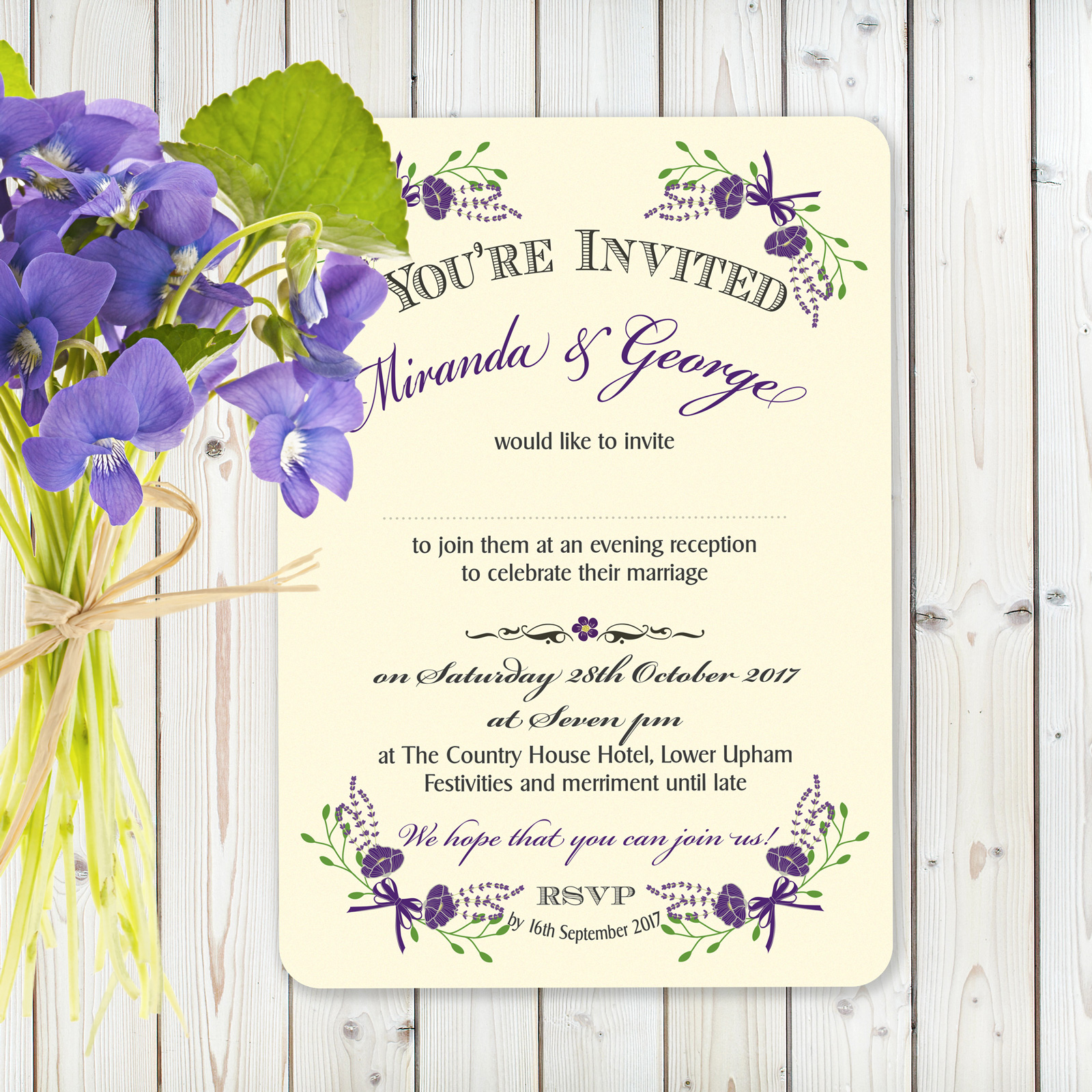 Floral Fantasy Purple on Ivory Card - Evening Invitation