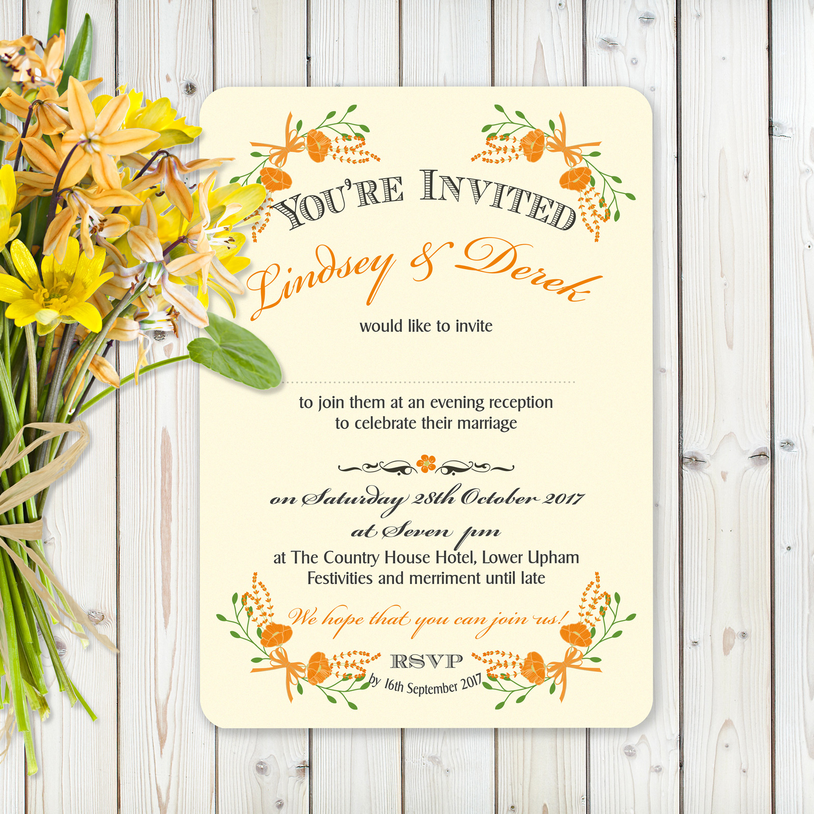 Floral Fantasy Orange on Ivory Card - Evening Invitation