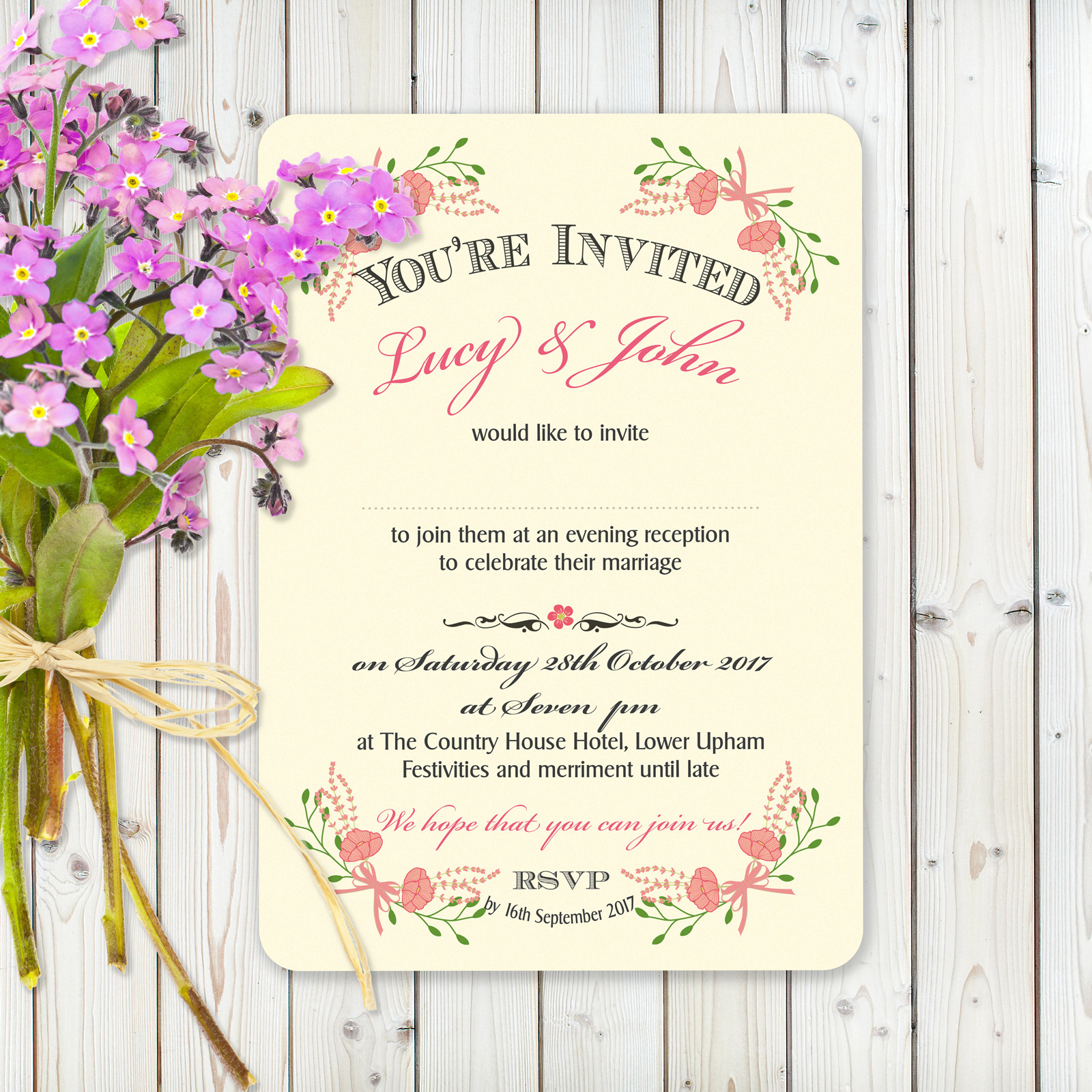 Floral Fantasy Pink on Ivory Card - Evening Invitation
