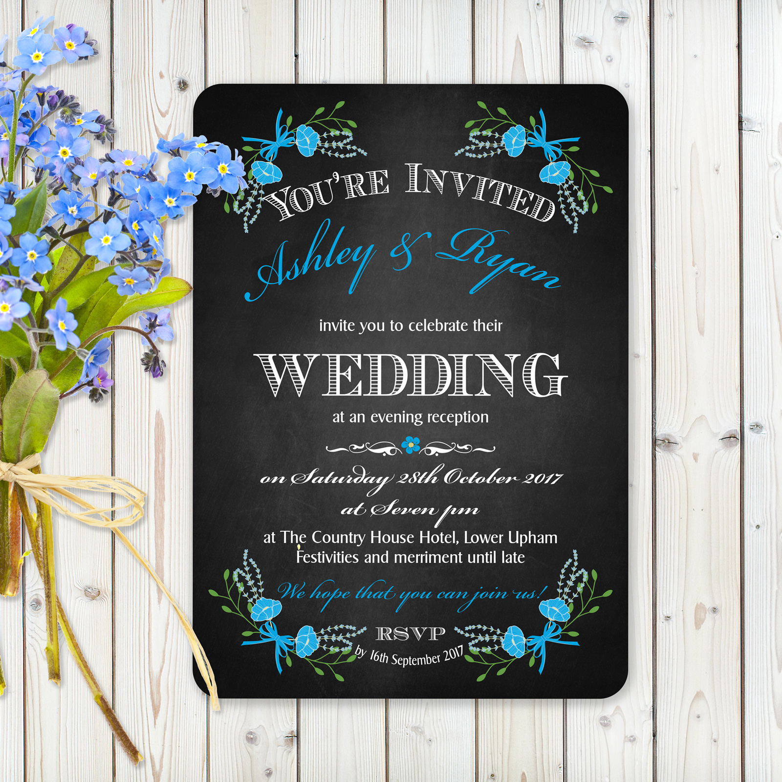 Floral Fantasy Blue on Chalkboard - Evening Invitation
