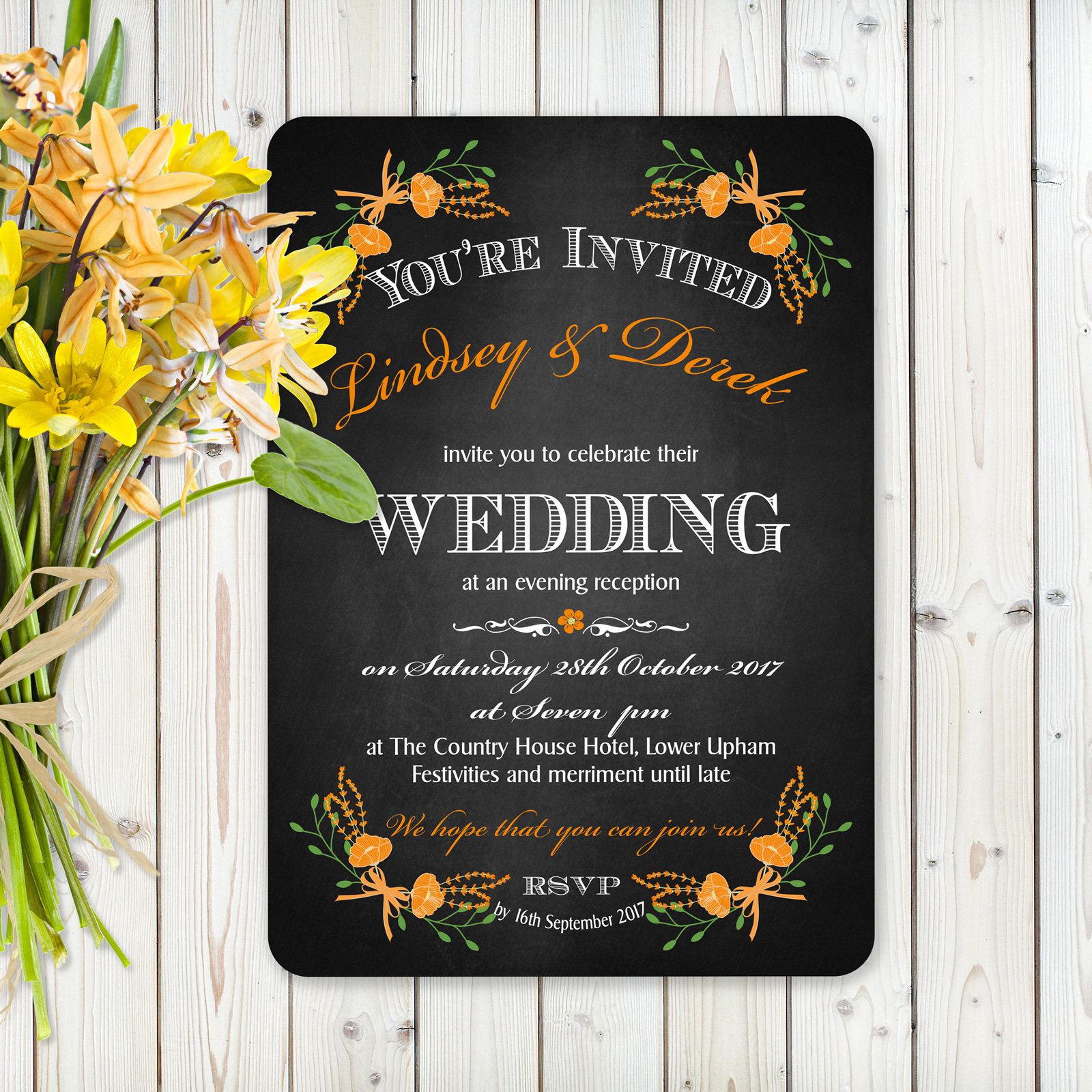 Floral Fantasy Orange on Chalkboard - Evening Invitation
