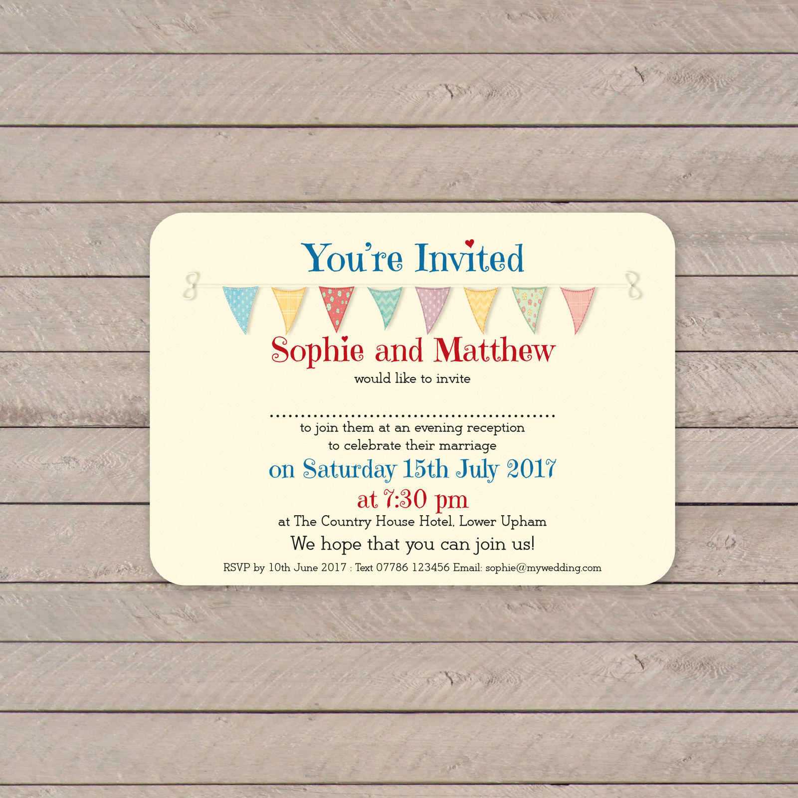 Festival A6 on Ivory Card - Evening Invitation
