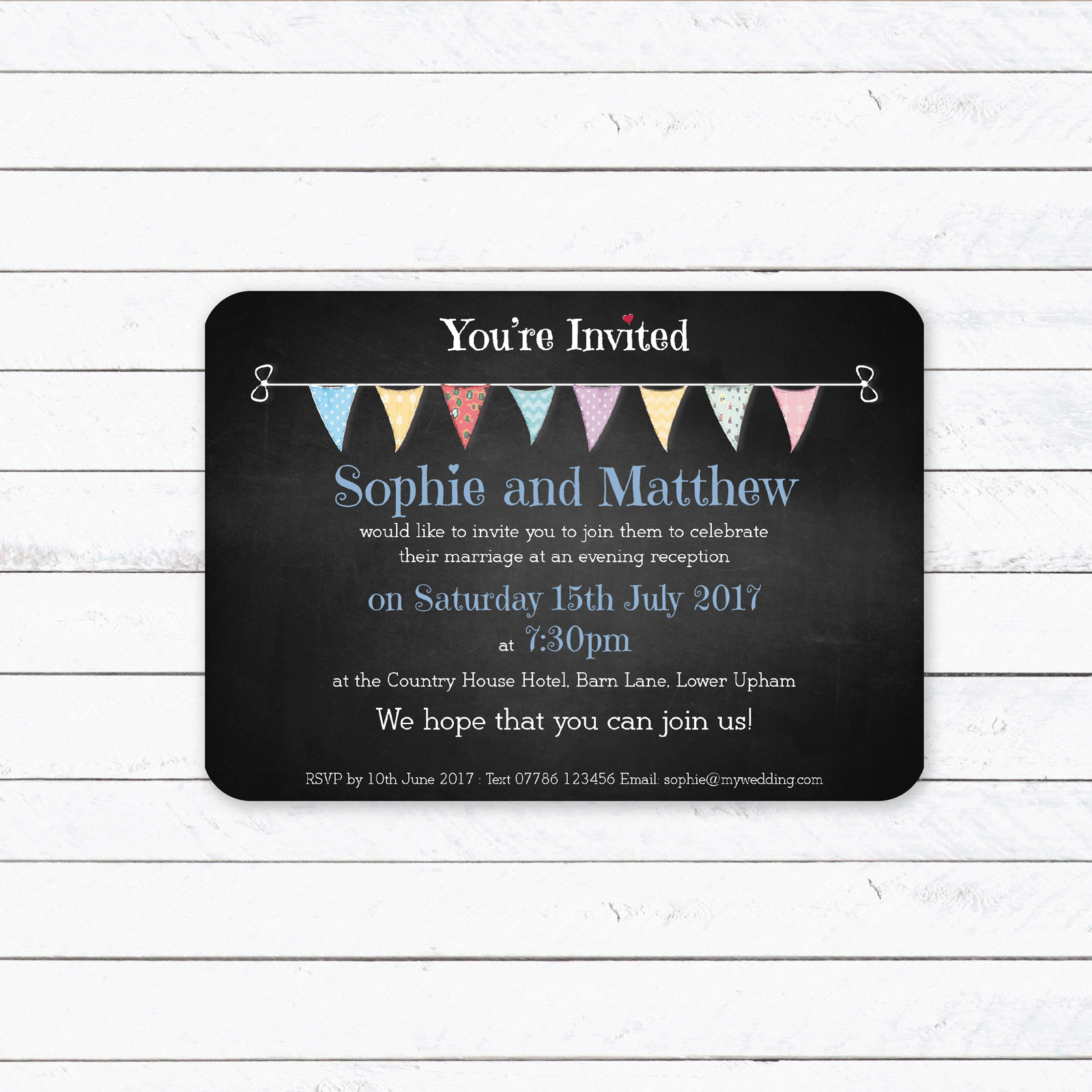 Festival on Chalkboard - A6 Evening Invitation