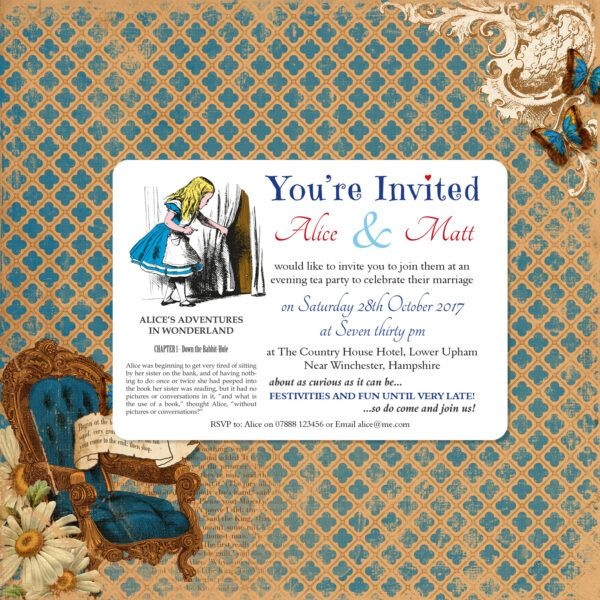 Vintage Alice on White Card - A6 Evening Invitation