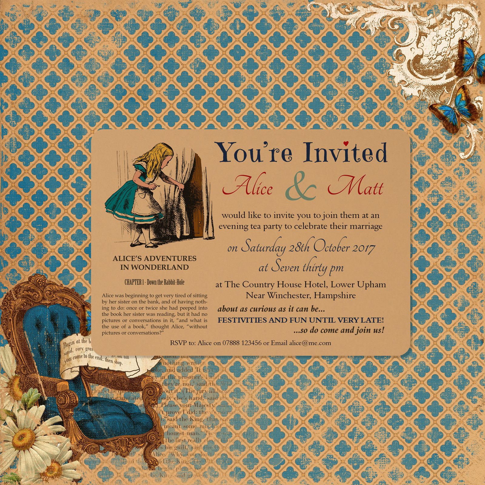 Vintage Alice on Buff Card - A6 Evening Invitation