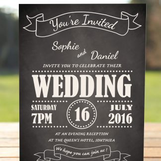 Wedding Fete on Chalkboard - Evening Invitation
