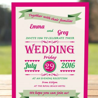 Wedding Fete Fuchsia Pink & Green - Evening Invitation