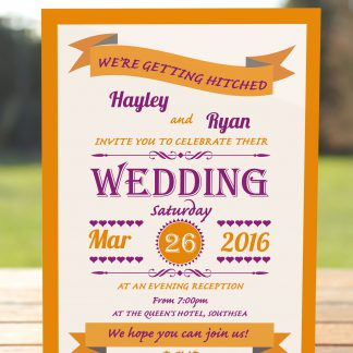 Wedding Fete Burnt Orange & Purple - Evening Invitation