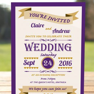 Wedding Fete Cadbury Purple & Gold - Evening Invitation