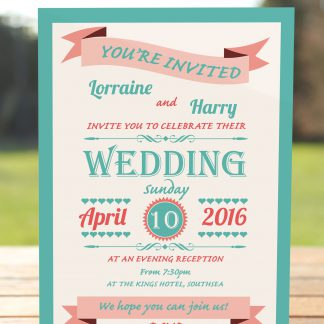 Wedding Fete Turquoise & Coral - Evening Invitation