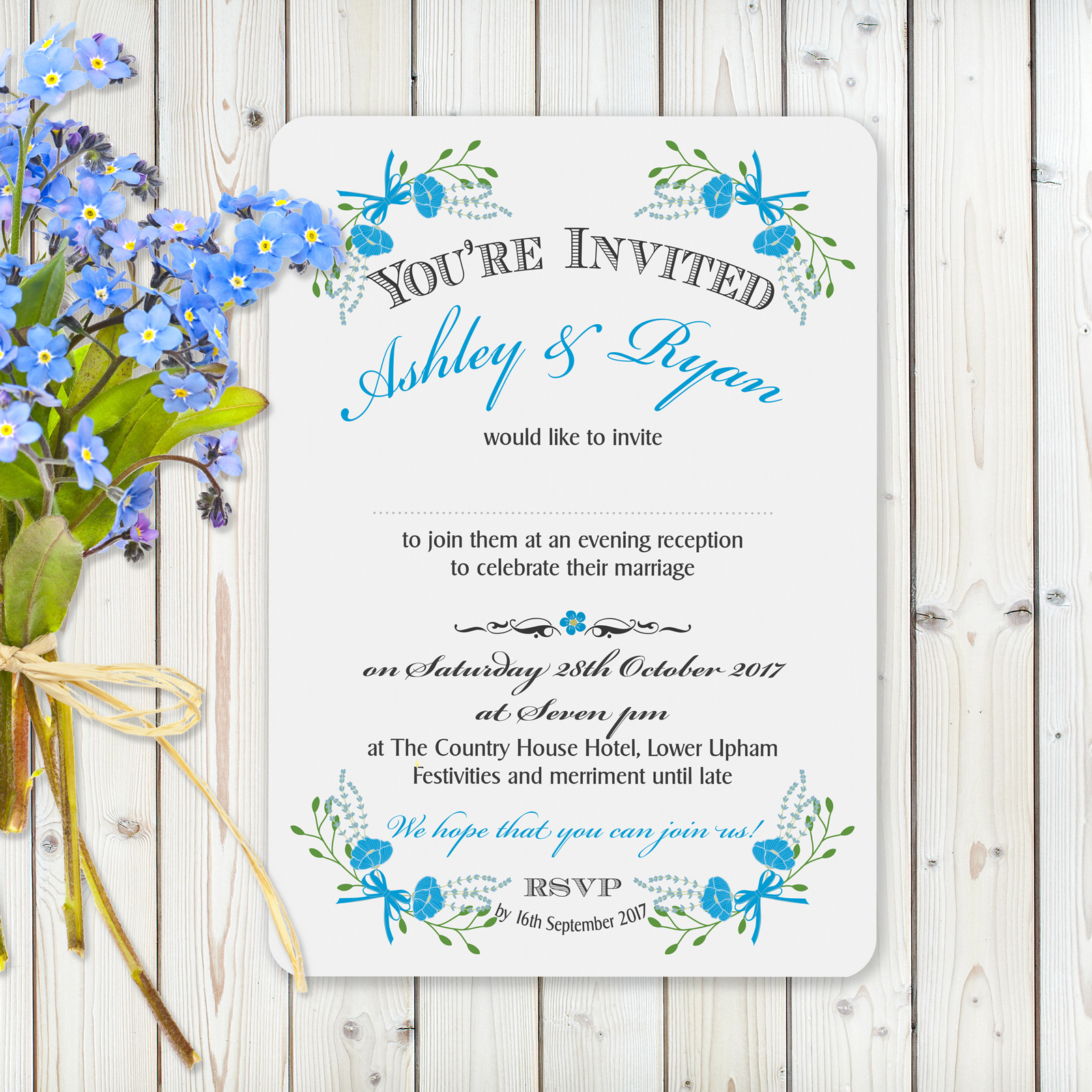 Floral Fantasy Blue on White - Evening Invitation