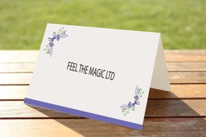 Floral Fantasy Purple on White Card - Place Name Cards