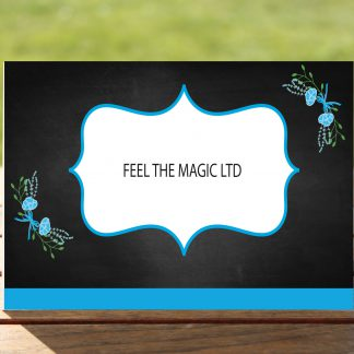 Floral Fantasy Blue on Chalkboard - Place Name Cards