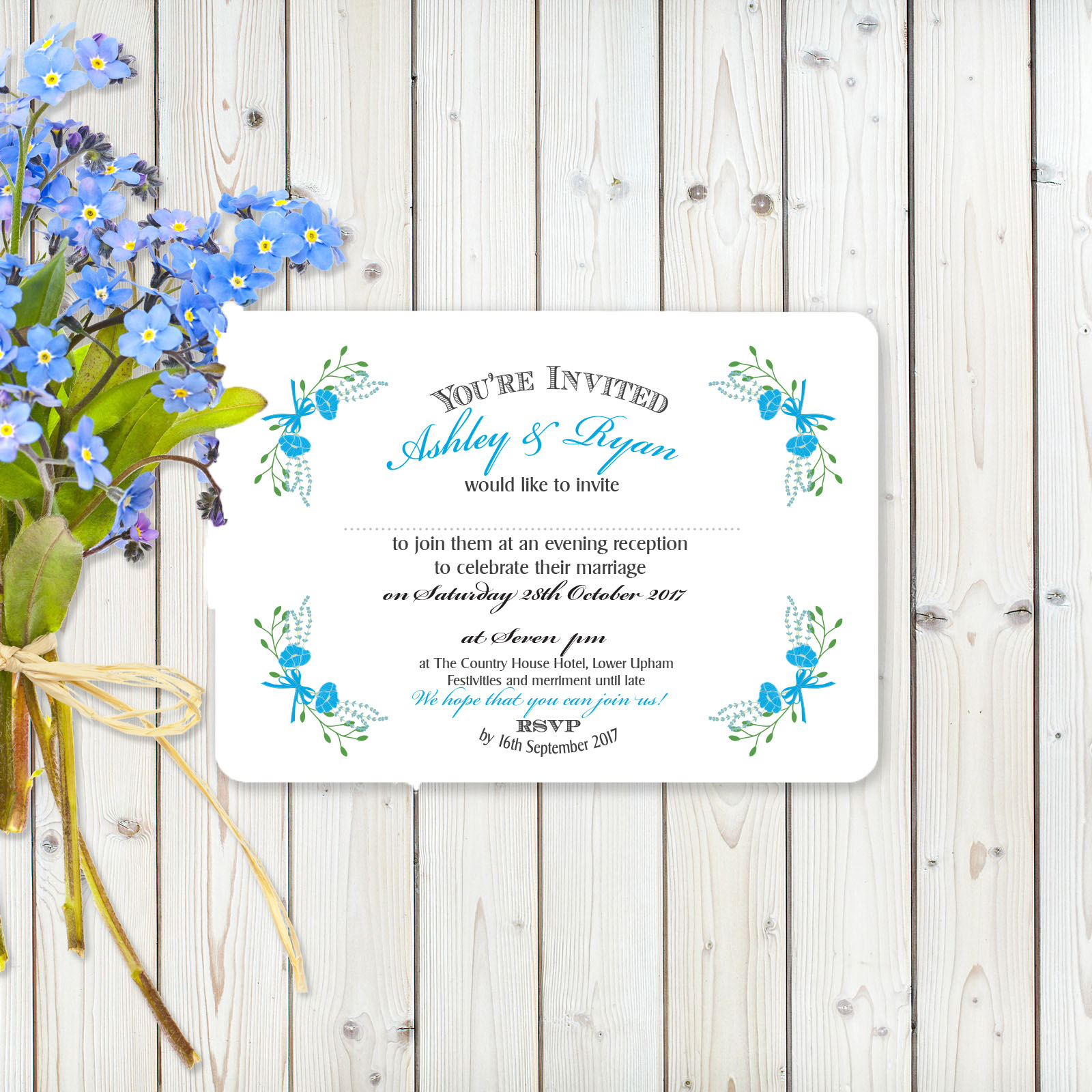 Floral Fantasy Blue on White Card - A6 Evening Invitation