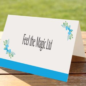 Floral Fantasy Blue on White Card - Place Name Cards