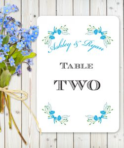 Floral Fantasy Blue on White Card - Table Name Cards