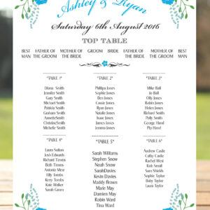 Fantasy Floral Blue on White - Table or Seating Plan
