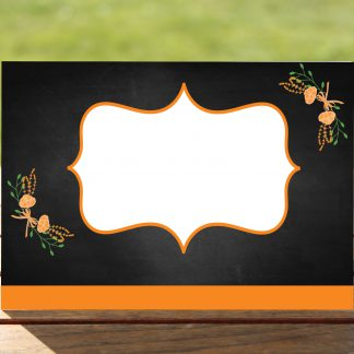 Floral Fantasy Orange on Chalkboard - Place Name Cards