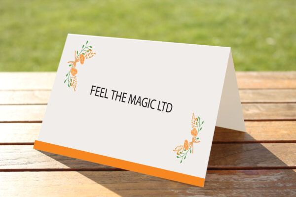 Floral Fantasy Orange on White Card - Place Name Cards