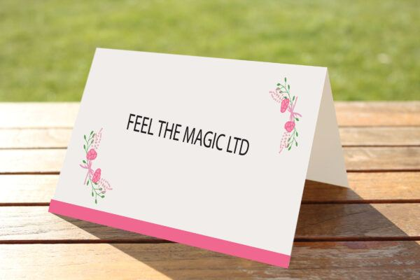 Floral Fantasy Pink on White Card - Place Name Cards