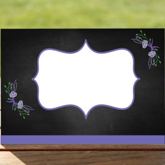 Floral Fantasy Purple on Chalkboard - Place Name Cards