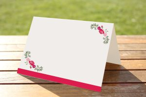 Floral Fantasy Rose on White Card - Place Name Cards