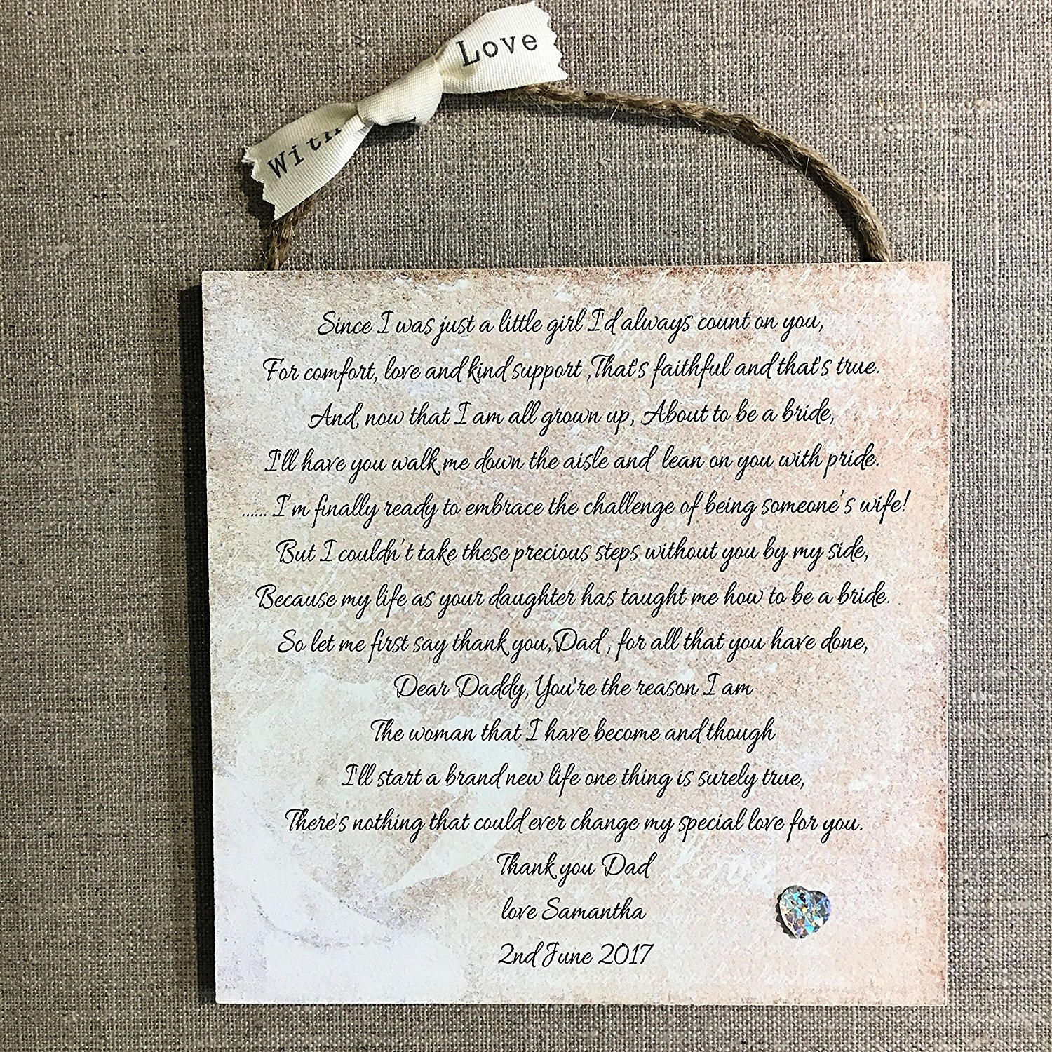 Father Of The Bride Wedding Wooden Plaque Card Dad Gift