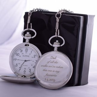 Laser Engraved 'DAD WALKS' Wedding Design Pocket Watch