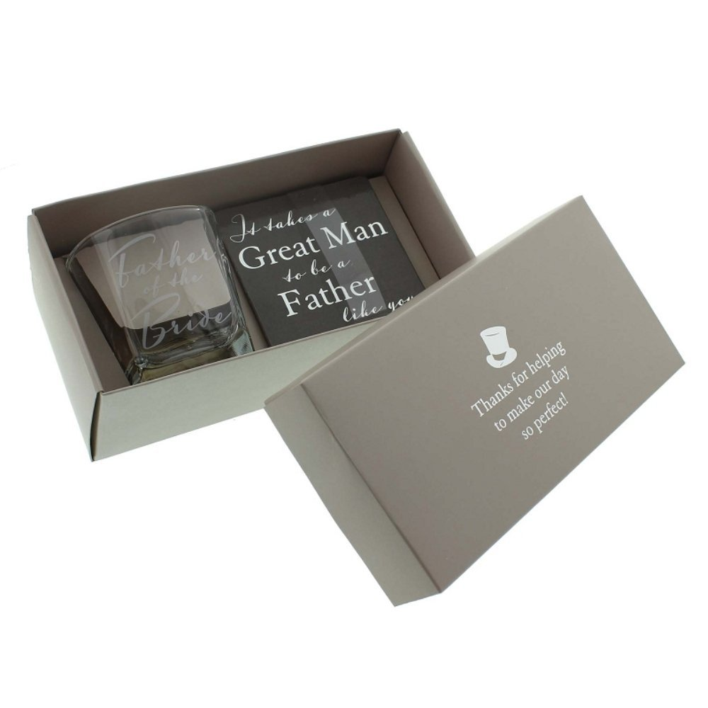 Father of the Bride Whisky Glass & Coaster Wedding Gift Favour