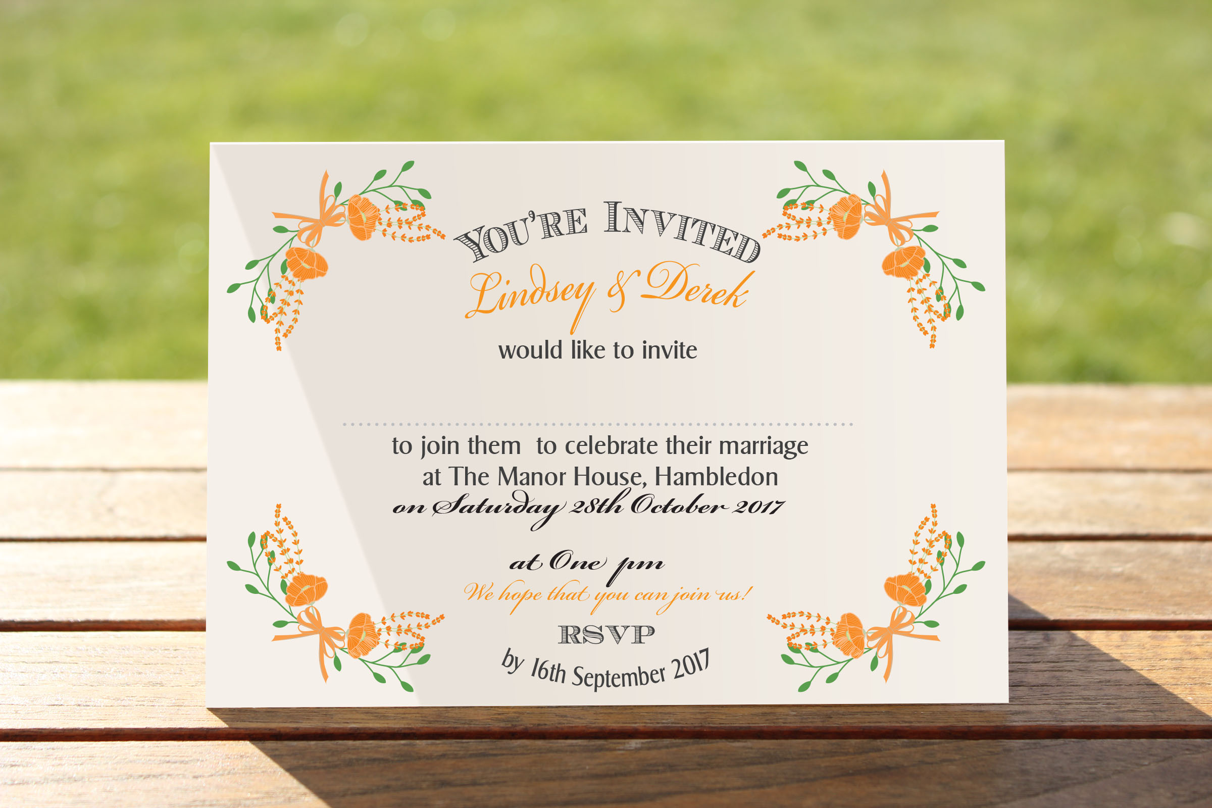 Floral Fantasy Orange on White Card - A6 Evening Invitation