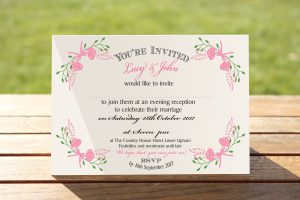 Floral Fantasy Pink on White Card - A6 Evening Invitation