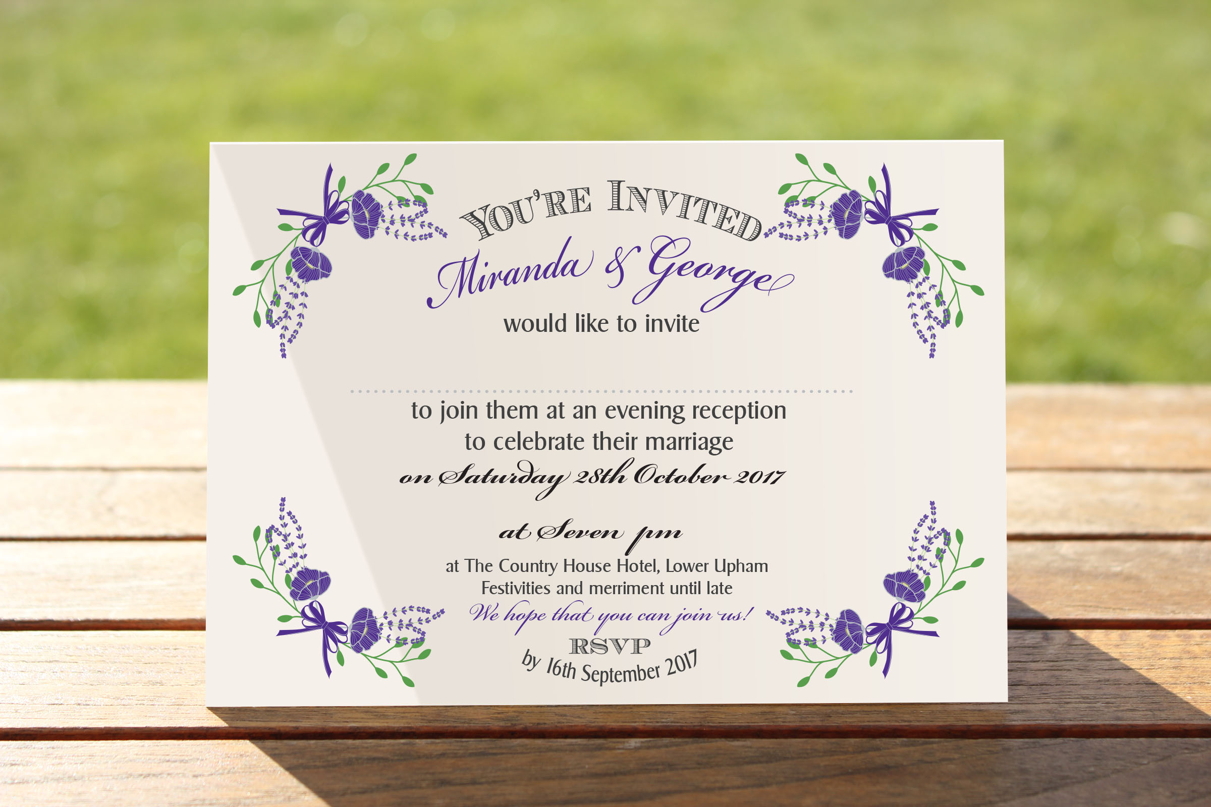 Floral Fantasy Purple on White Card - A6 Evening Invitation