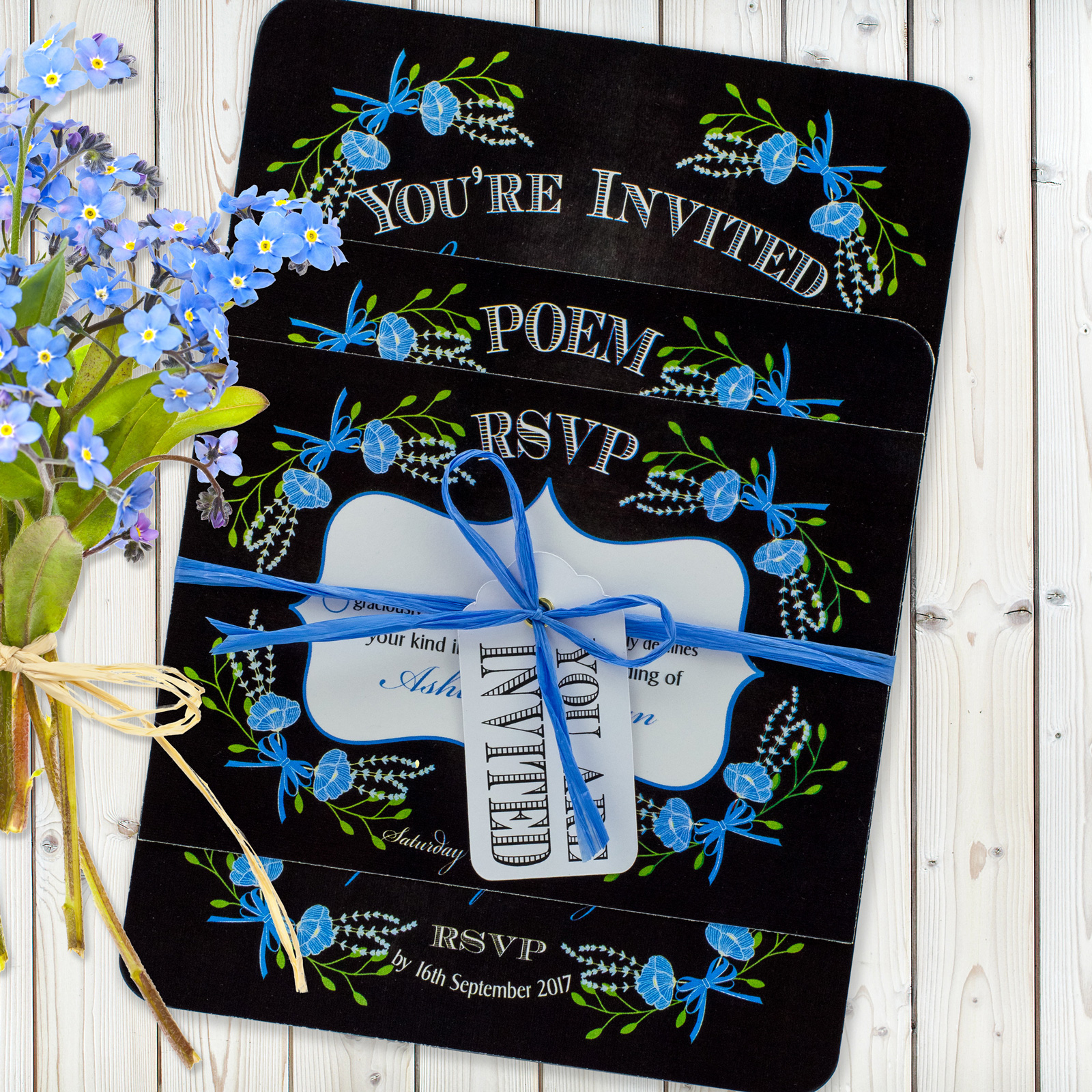 Floral Fantasy Blue on Chalkboard - 3 Card Set