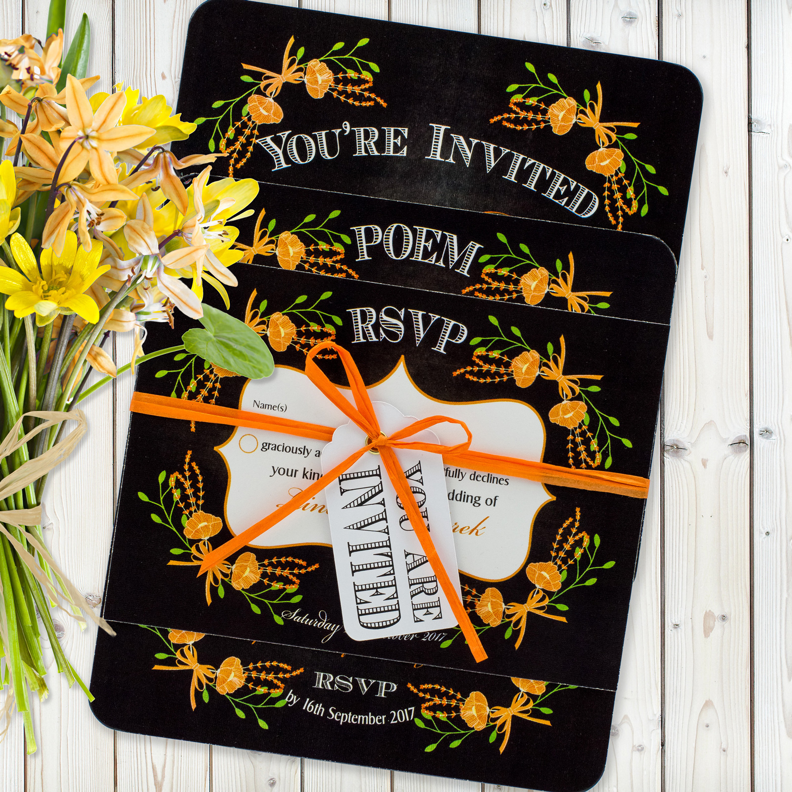 Floral Fantasy Orange on Chalkboard - 3 Card Set