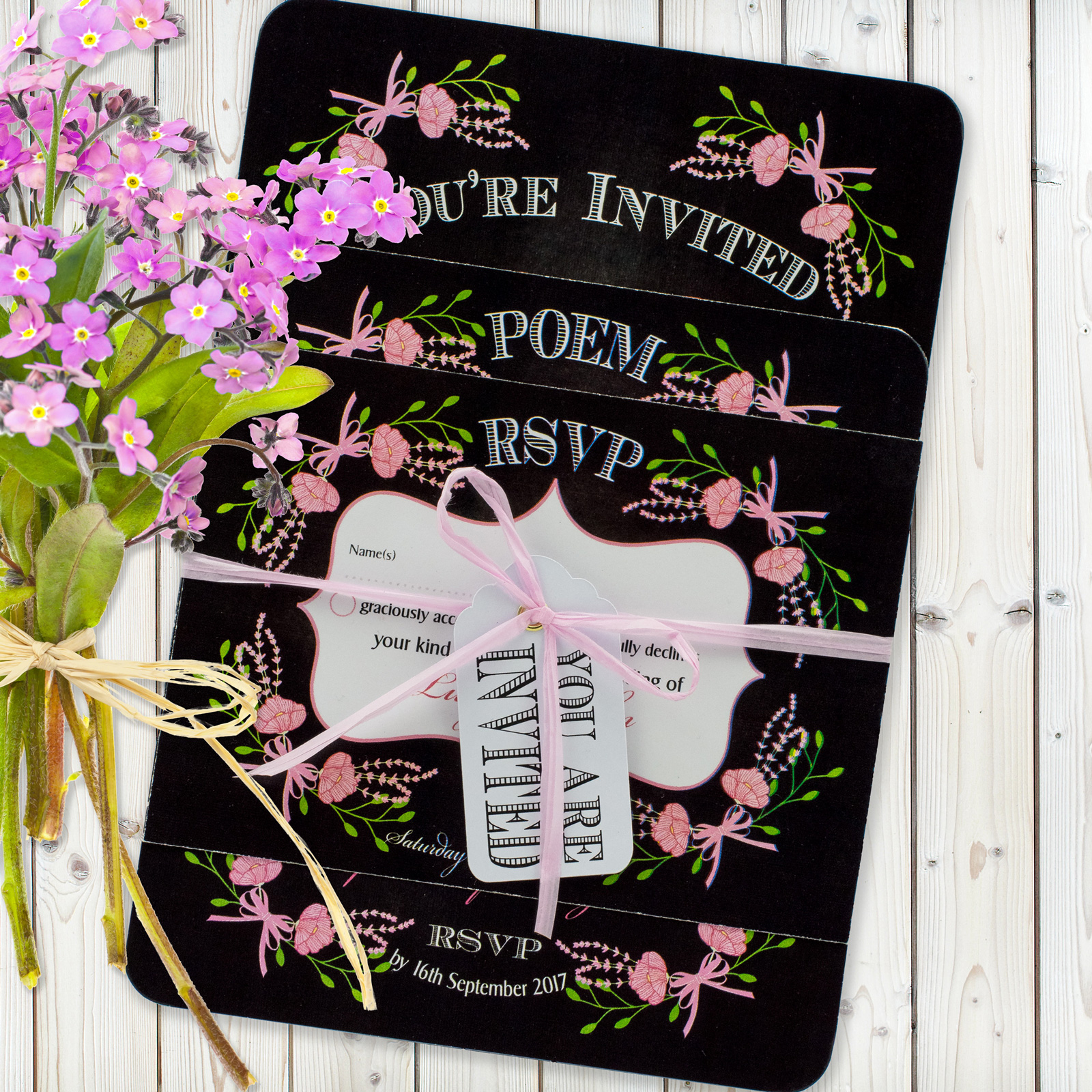 Floral Fantasy Pink on Chalkboard - 3 Card Set