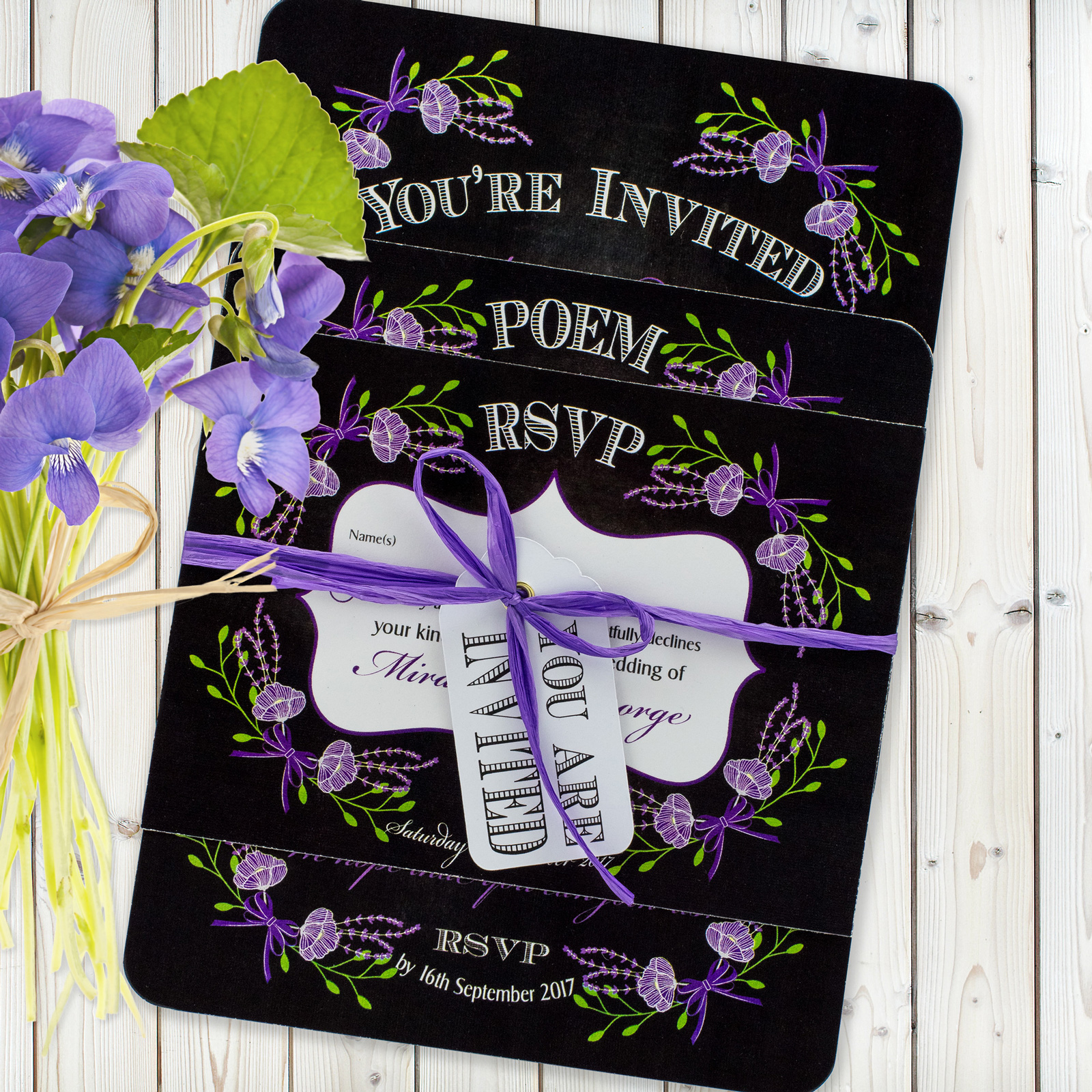 Floral Fantasy Purple on Chalkboard - 3 Card Set