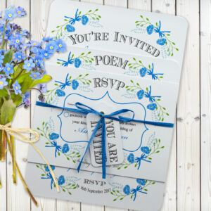 Floral Fantasy Blue on White Card - 3 Card Set
