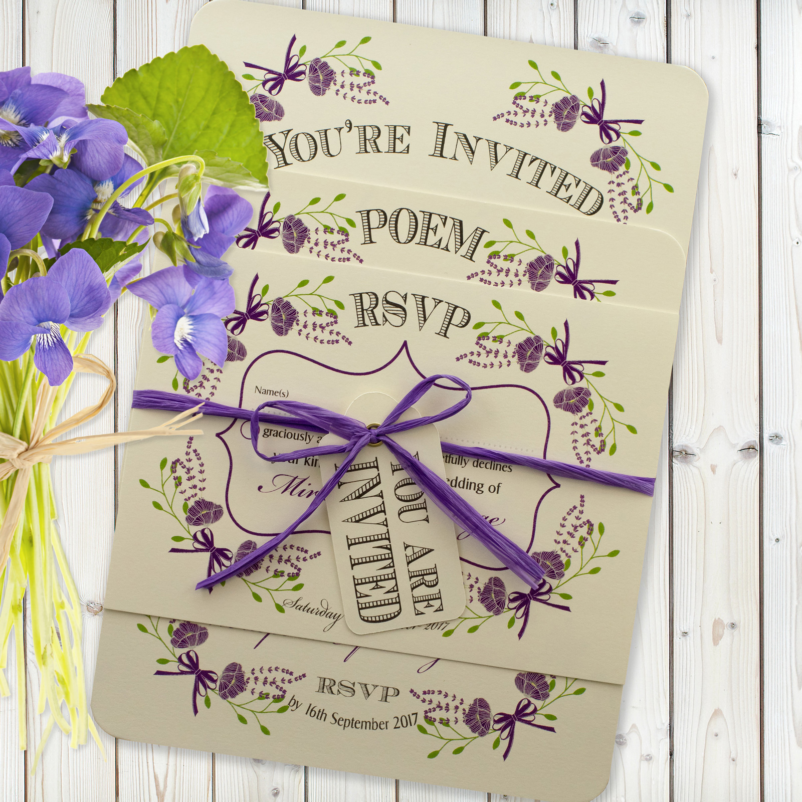 Floral Fantasy Purple on Ivory Card - 3 Card Set