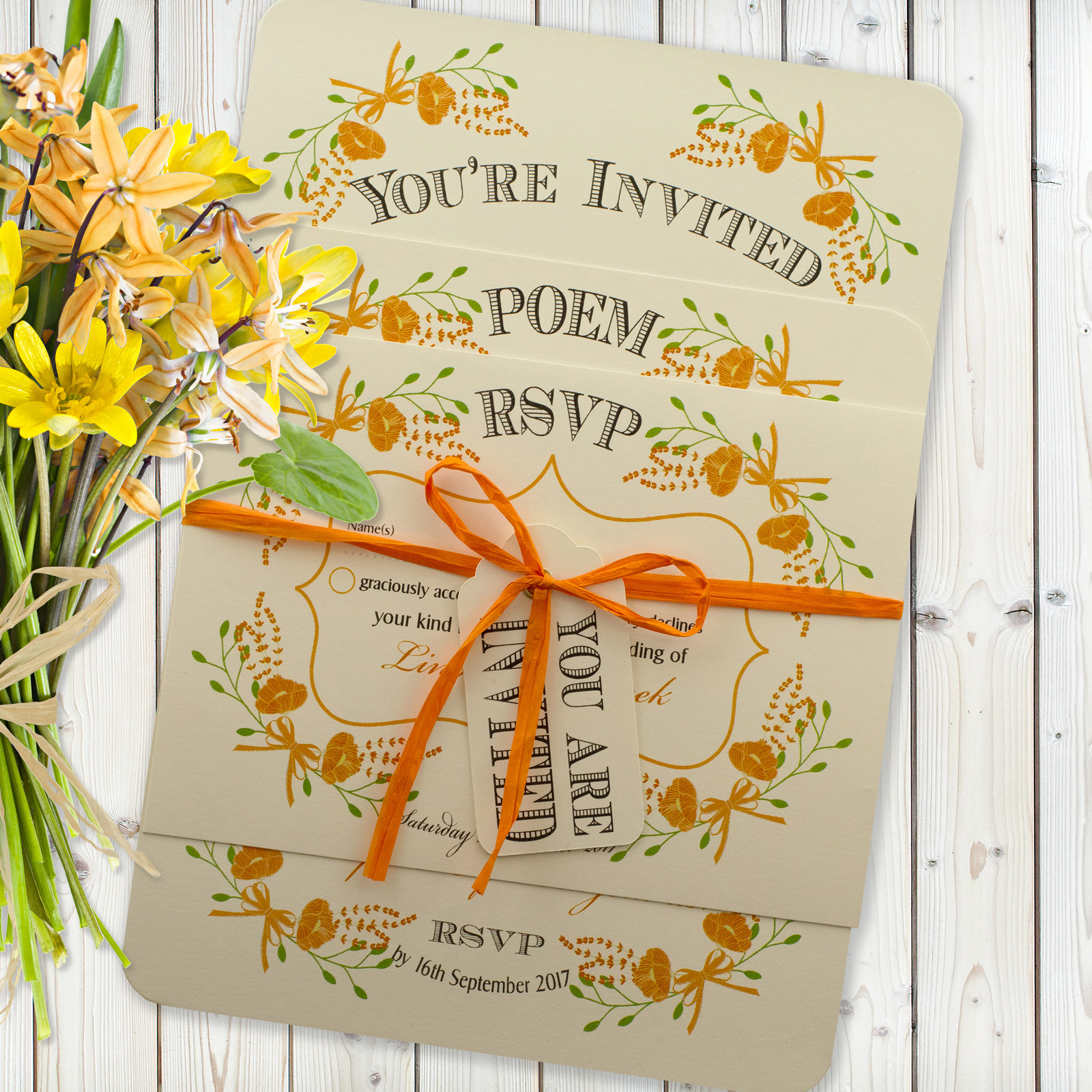 Floral Fantasy Orange on Ivory Card - 3 Card Set