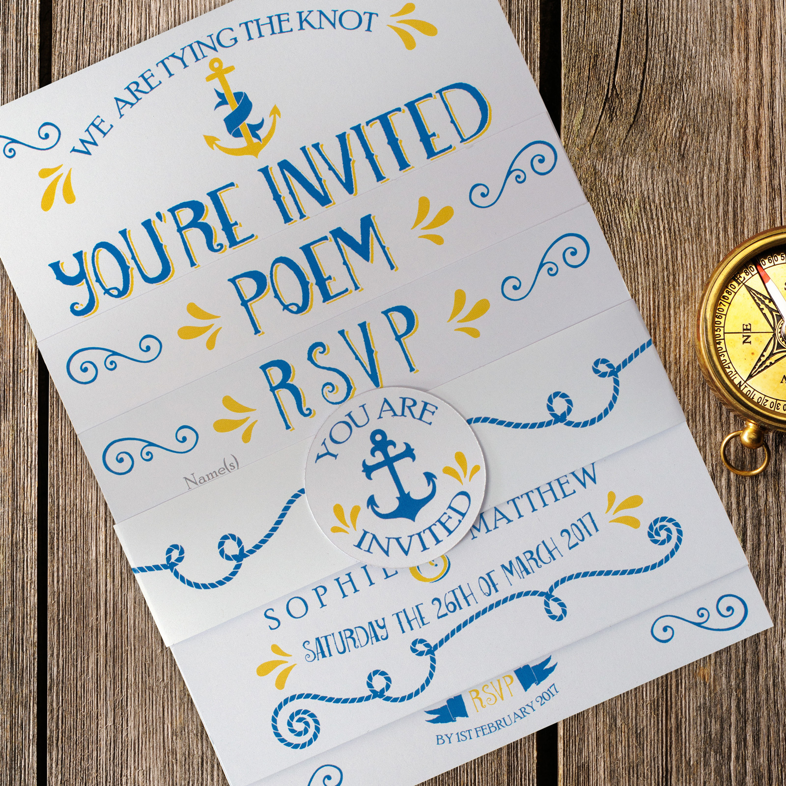 Nautical Blue and Yellow on White Card - 3 Card Set