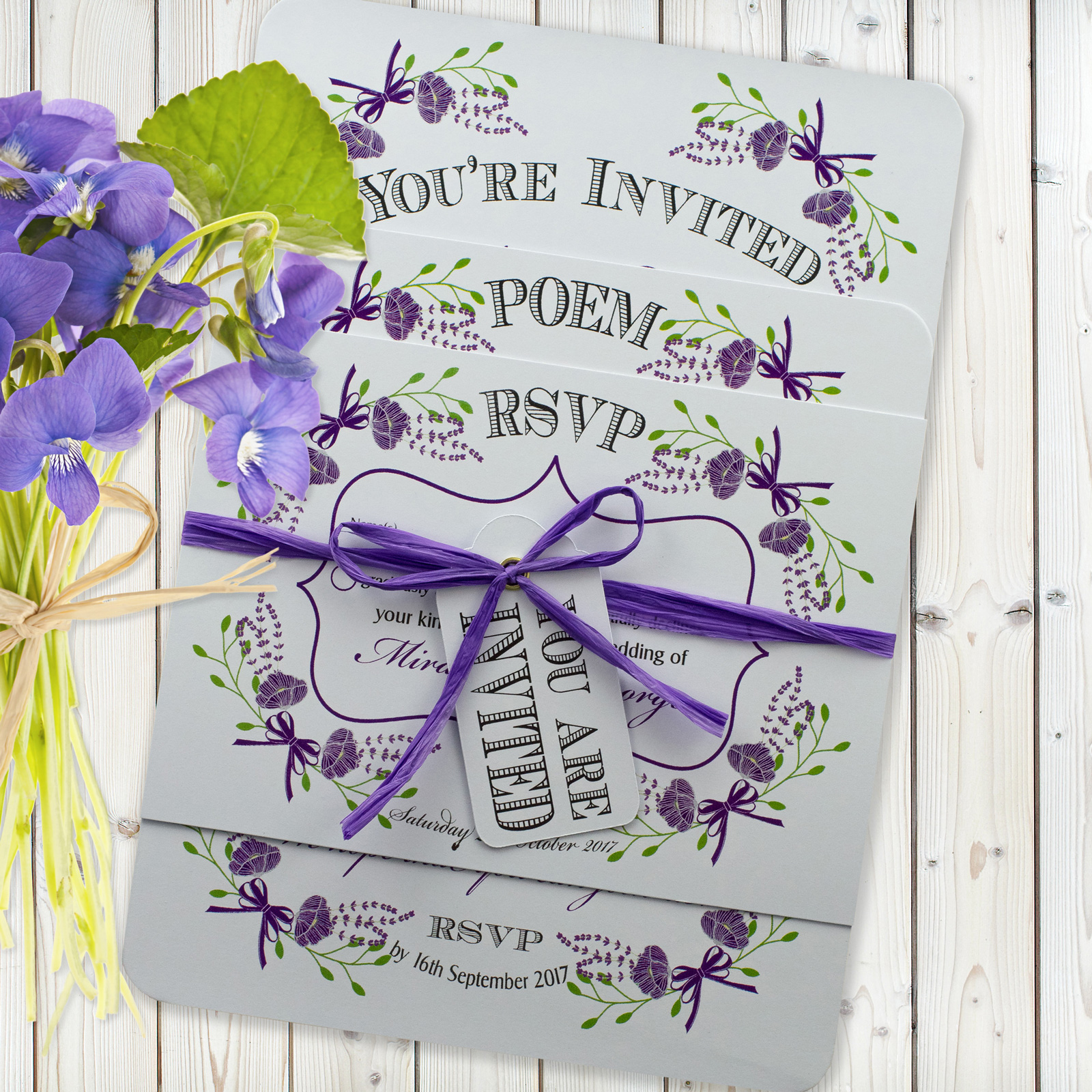 Fantasy Floral Purple on White Card - 3 Card Set