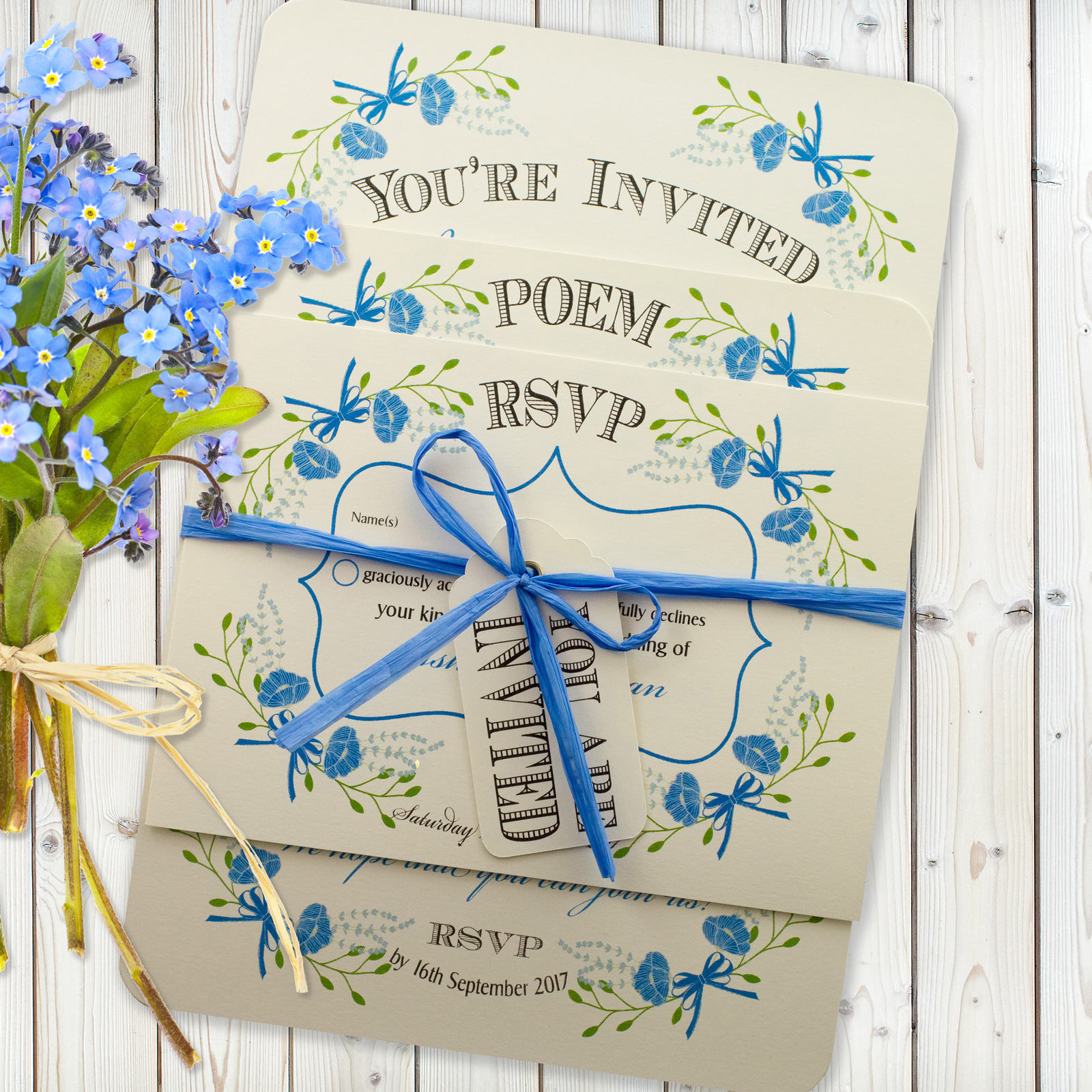 Floral Fantasy Blue on Ivory Card - 3 Card Set