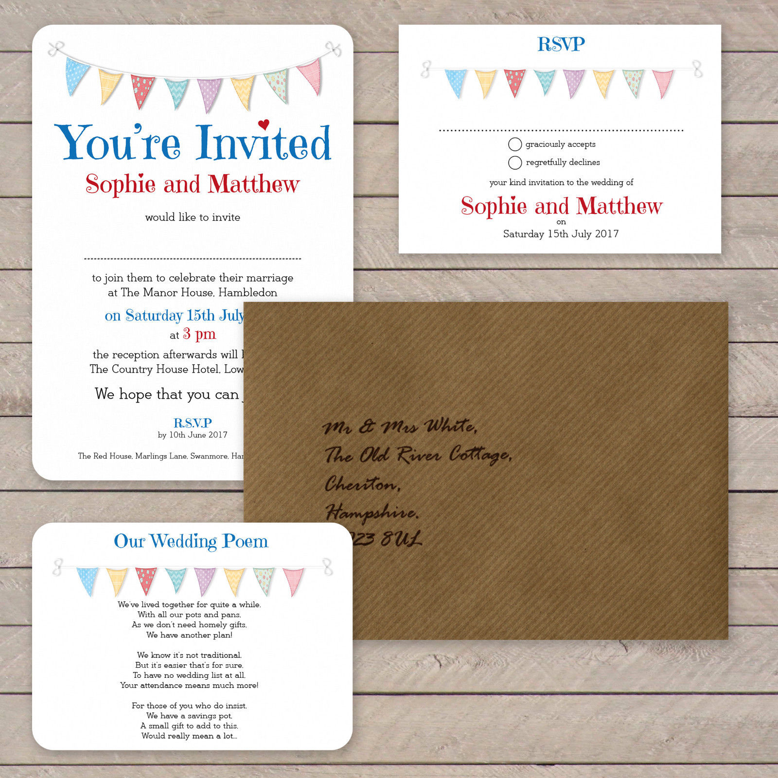 Festival Bunting on White Card
