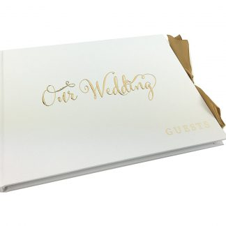 White Wedding Guest Book Gift With Gold Ribbon