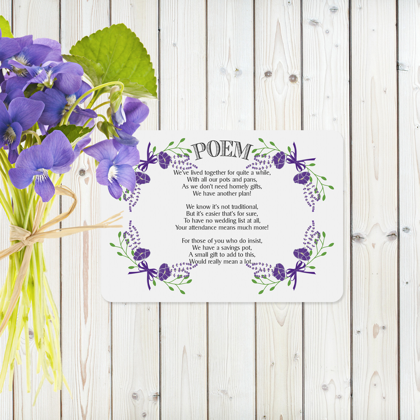Floral Fantasy Purple on White Card - Poem Cards