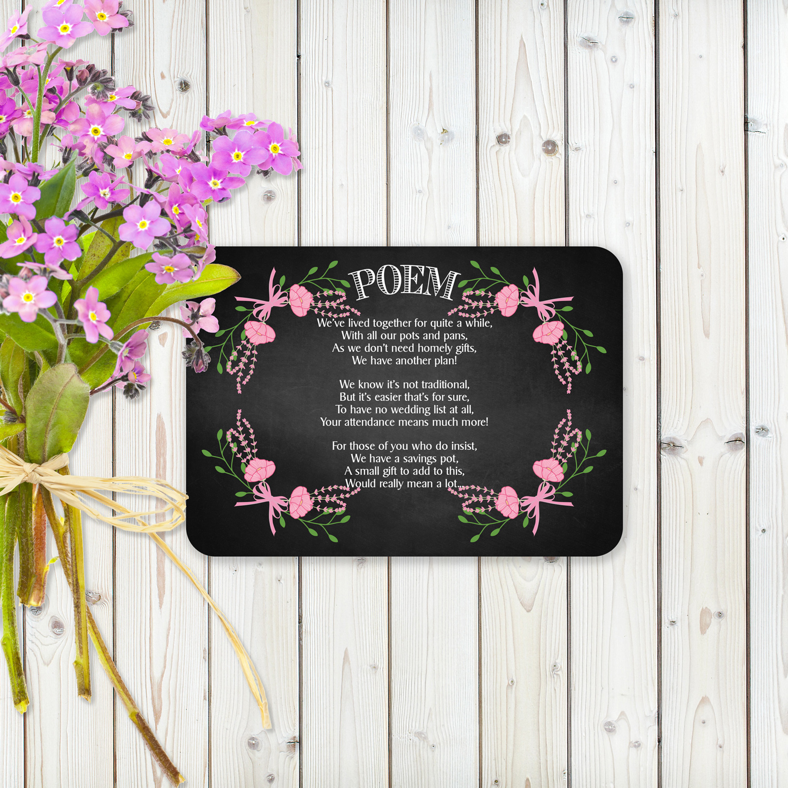 Floral Fantasy Pink on Chalkboard - Poem Card