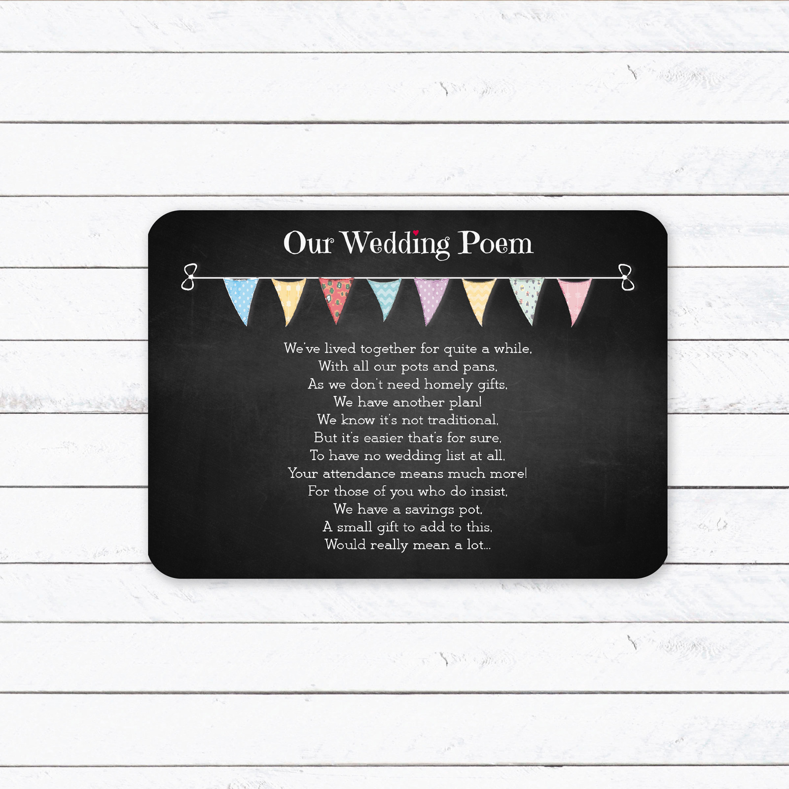 Festival Bunting on Chalkboard - Poem Card