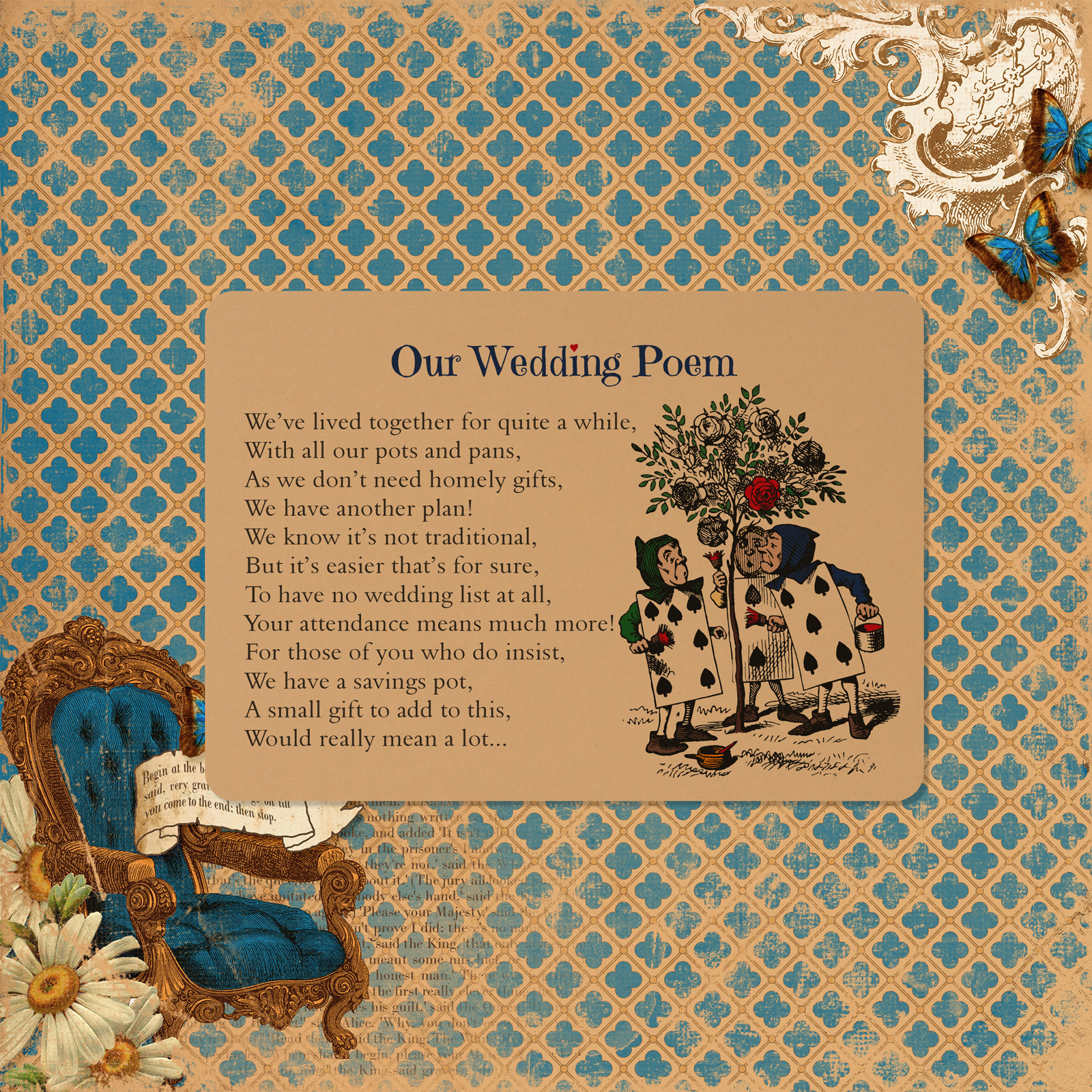 Vintage Alice on Buff Card - Poem Card