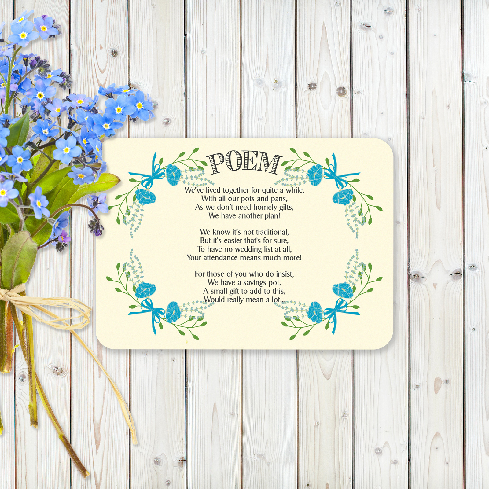Floral Fantasy Blue on Ivory - Poem Card