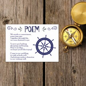 Nautical Blue & Silver on White Card - Poem Card